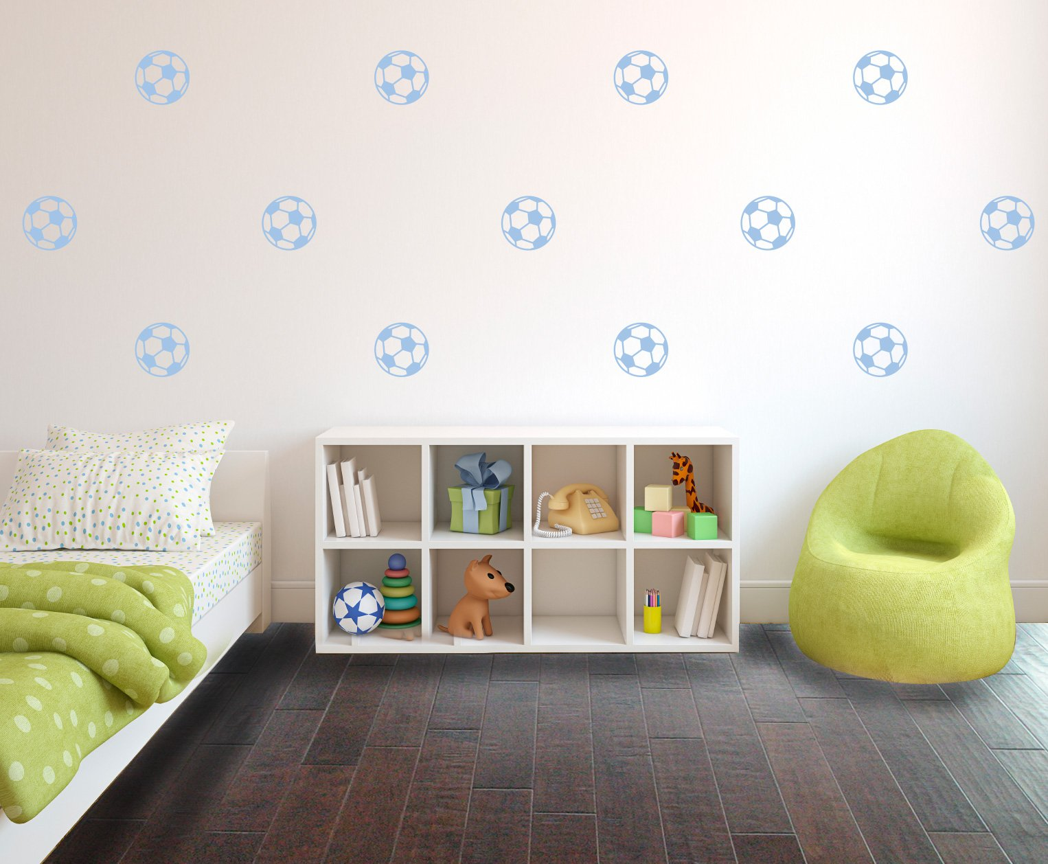 Powder Blue Soccer Ball Pattern - Set of 10 - Sports Vinyl Wall Art Decal for Homes, Offices, Kids Rooms, Nurseries, Schools, High Schools, Colleges, Universities