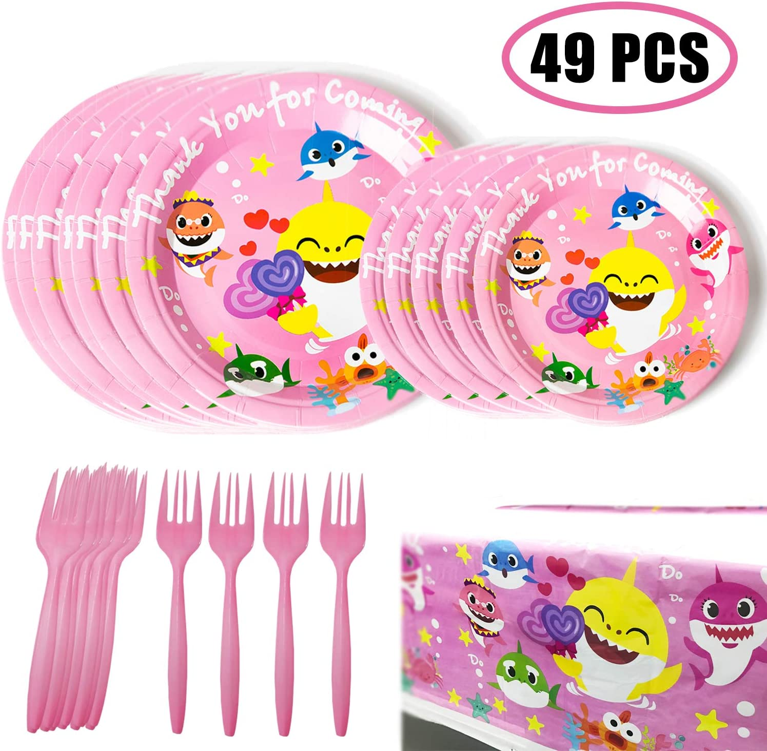 49 Shark Party Supplies, Birthday Party Dessert Set, 32 pcs 9 + 7 Inch Party Paper Plates, 16 pcs Shark Forks and 1 pcs Tablecover - Party Kit for Kids Birthday Shark Theme Baby Shower(16 Guests)