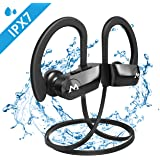 Mpow D7 [Upgraded] Bluetooth Headphones, IPX7 Waterproof Richer Bass Stereo Wireless Sports Earbuds w/Mic, 10~12H Battery Noise Cancelling Earphones for Running, Jogging, Cycling, Exercising, Workout