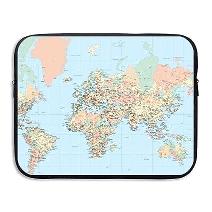 Amazon Com Laptop Sleeve Briefcase World Map Blue Background