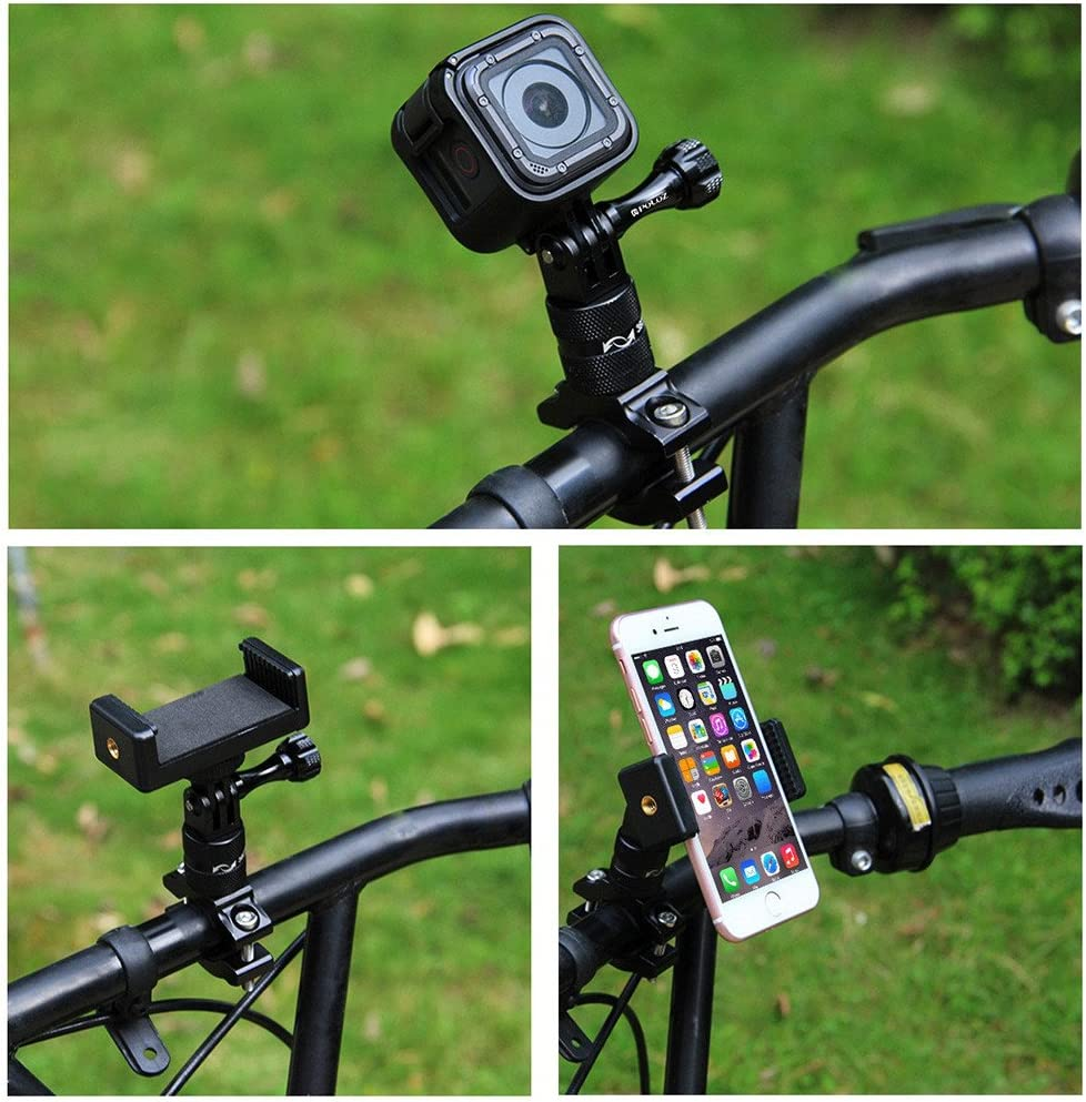 Black Bike Camera Mount 360 Degree Rotation Rotary Bicycle Rack Mount Holder Aluminium Bike Handlebar Action Camera Rack Compatible with GoPro and GoPro-Like Action Cameras and Smartphones