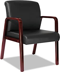 Alera ALE Reception Lounge Series Guest Chair, Cherry/Black Leather