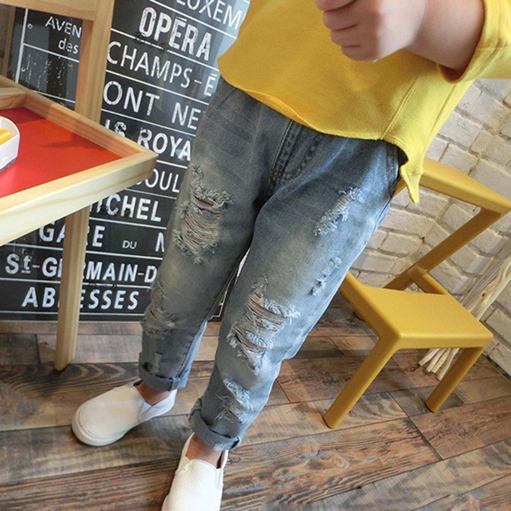 Vaqueros Rotos Para Ninos Y Ninas Moda Cintura Media Casuales Denim Pantalones Con Bolsillos Comodo Cintura Elastica Jeans Unisexo Azul Vaqueros Bebe