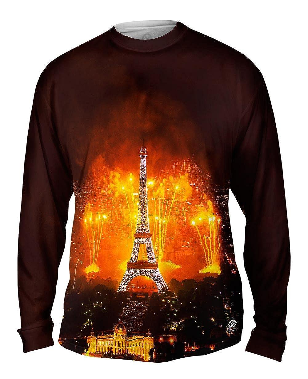 Tshirt Mens Long Sleeve Yizzam Fireworks Lighting Up Eiffel Tower
