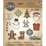 Sizzix 662418 Fustelle Thinlits Set 11 Pezzi-Mini Addobbi di Natale di Tim Holtz, Acciaio, Multicolore, 19.1x14.4x0.4 cm