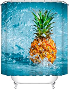 Fangkun Tropical Home Bath Decor Shower Curtain - Pineapple Design Yellow Polyester Fabric Bathroom Curtains Sets - 12 Shower Hooks - 72 x 72 inches