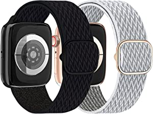 2 Pack UPOLS Nylon Solo Loop Band Women Men Strap Compatible with Apple Watch Band 38mm 40mm 42mm 44mm, Braided Sport Adjustable Stretchy Elastic Wristband Compatible for iWatch Series 6/SE/5/4/3/2/1