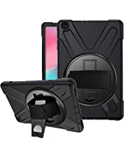 SYNTAKS Galaxy Tab A 10.1 2019 Case(Model: SM-T510 SM-T515),[360 Degree Swivel Stand/Hand Strap] Slim Heavy Duty Shockproof Rugged Full Body Protective Case,Black