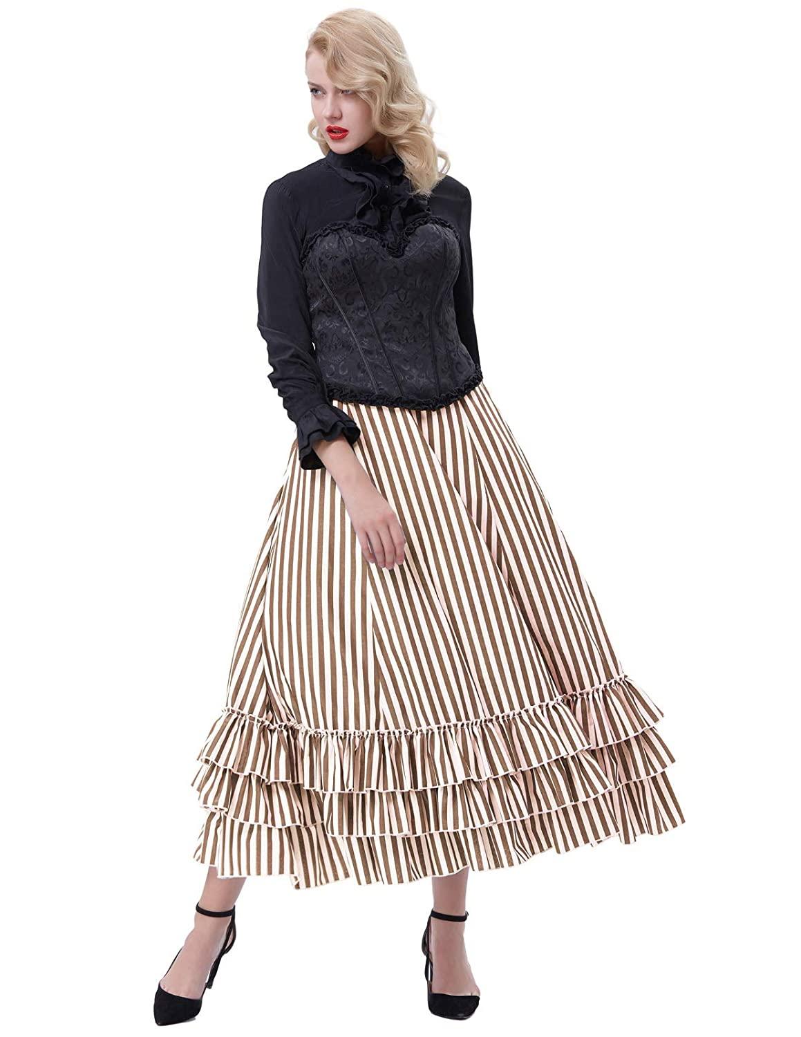 Steampunk Skirts | Bustle Skirts, Lace Skirts, Ruffle Skirts Belle Poque Womens Vintage Stripes Gothic Victorian Skirt Renaissance Style Falda $37.99 AT vintagedancer.com