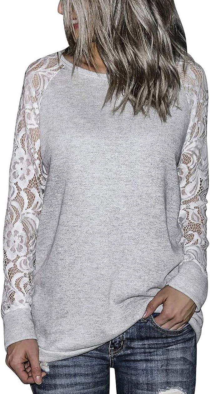 NANYUAYA Lace Floral Splicing T-Shirt Women Casual Hollow Long Sleeve Pollover Fashion Fall Blouse Top