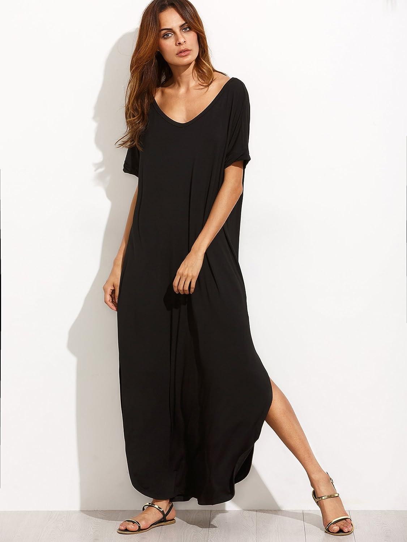 5cc68bdf8bda MAKEMECHIC Women's Casual Loose Pocket Long Dress Short Sleeve Split Maxi  Dress at Amazon Women's Clothing store: