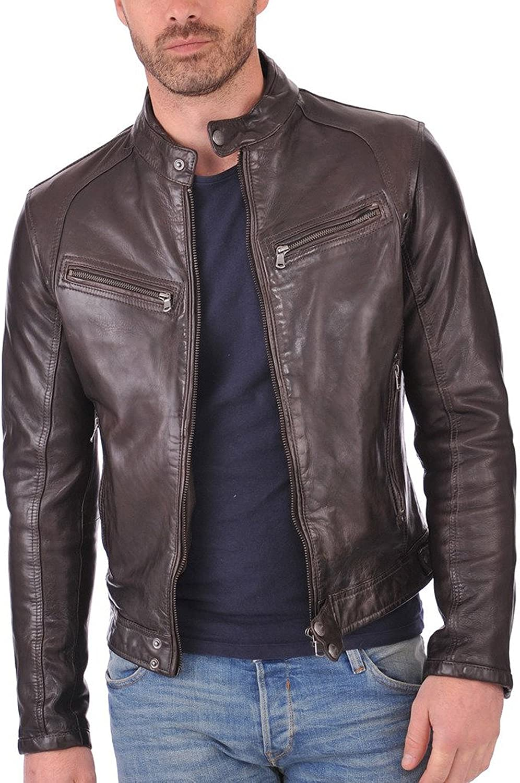 Men Leather Jacket Slim Fit Biker Motorcycle Genuine Lambskin Jacket LFM664