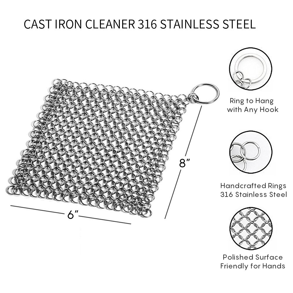 Cast Iron Cleaner with Corner Ring, Anti-Rust Stainless Steel Square 8\