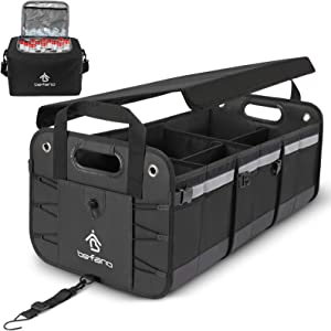 Befano Car Trunk Organizer with Cooler, Foldable Lid, Non-Slip Waterproof Bottom, Cargo Trunk Organizers and Storage (3 Compartments with Cooler, Black)