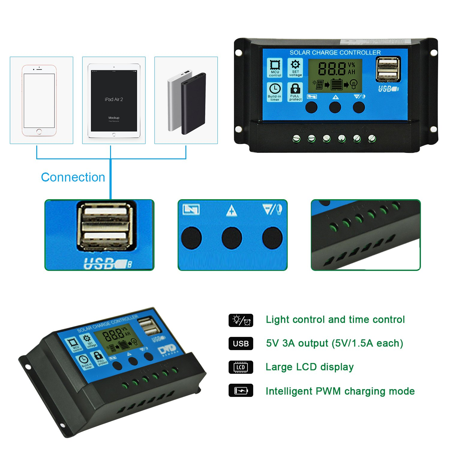 Solar Charge Controller 20a Panel Battery Pwm 10a 12v24v Automatic Art Of Circuits 12v 24v Intelligent Regulator Adjustable Lcd Display With Dual
