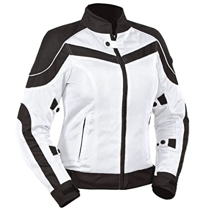 Amazon Com Bilt Women S Techno Mesh Motorcycle Jacket Md White