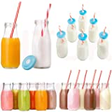 Htuk® – Bouteilles de lait rétro en verre avec pailles réutilisables et couvercles (6x300 ml)