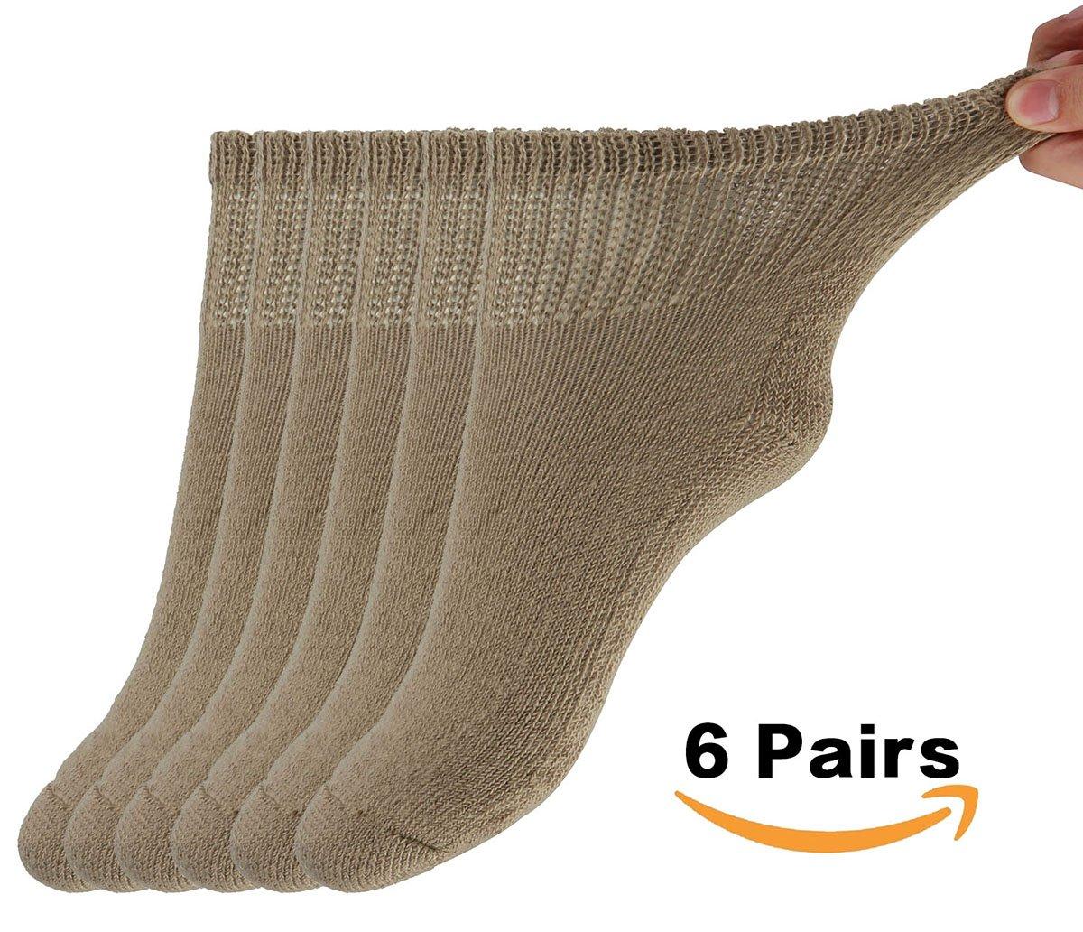 MD Diabetic Socks Mens and Womens Half Cushion Circulatory Quarter Socks for All Seasons Loose Fit 6 Pack 9-11 Brown