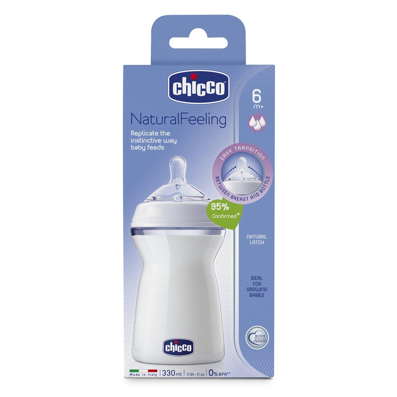 Chicco NaturalFeeling - Biberón con tetina redondeada anticólicos y flujo rápido para bebé de 6m+, 330 ml: Amazon.es: Bebé