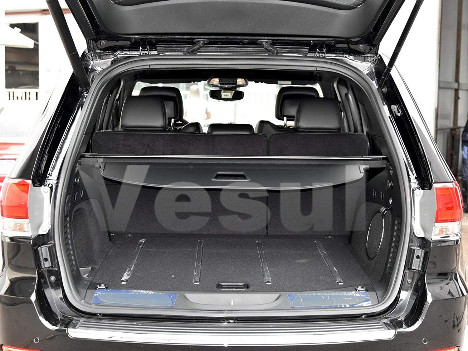 Vesul Black Updated Tonneau Cover Retractable Rear Trunk Cargo Luggage Security Shade Fits on Jeep Grand Cherokee 2011-2019(with Extra Canvas Cover)