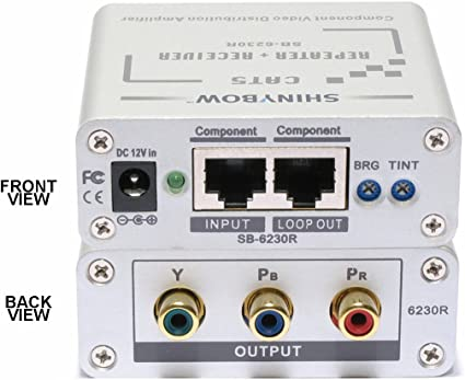 Component RCA RGB Transmitter Splitter Extender over 2 CAT5//6 to 1000ft SB-6230T