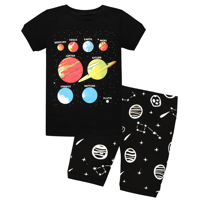 12M-2Years Kids Little Boys Mercury Venus Mars Pluto Short Sleeve Pajamas 2 Piece Set 100/% Cotton Sleepwear PJS Black