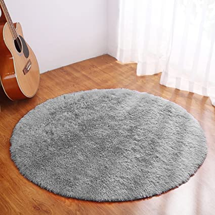 Amazon Com Yj Gwl Ultra Soft Round Grey Rugs For Kids Bedroom Anti