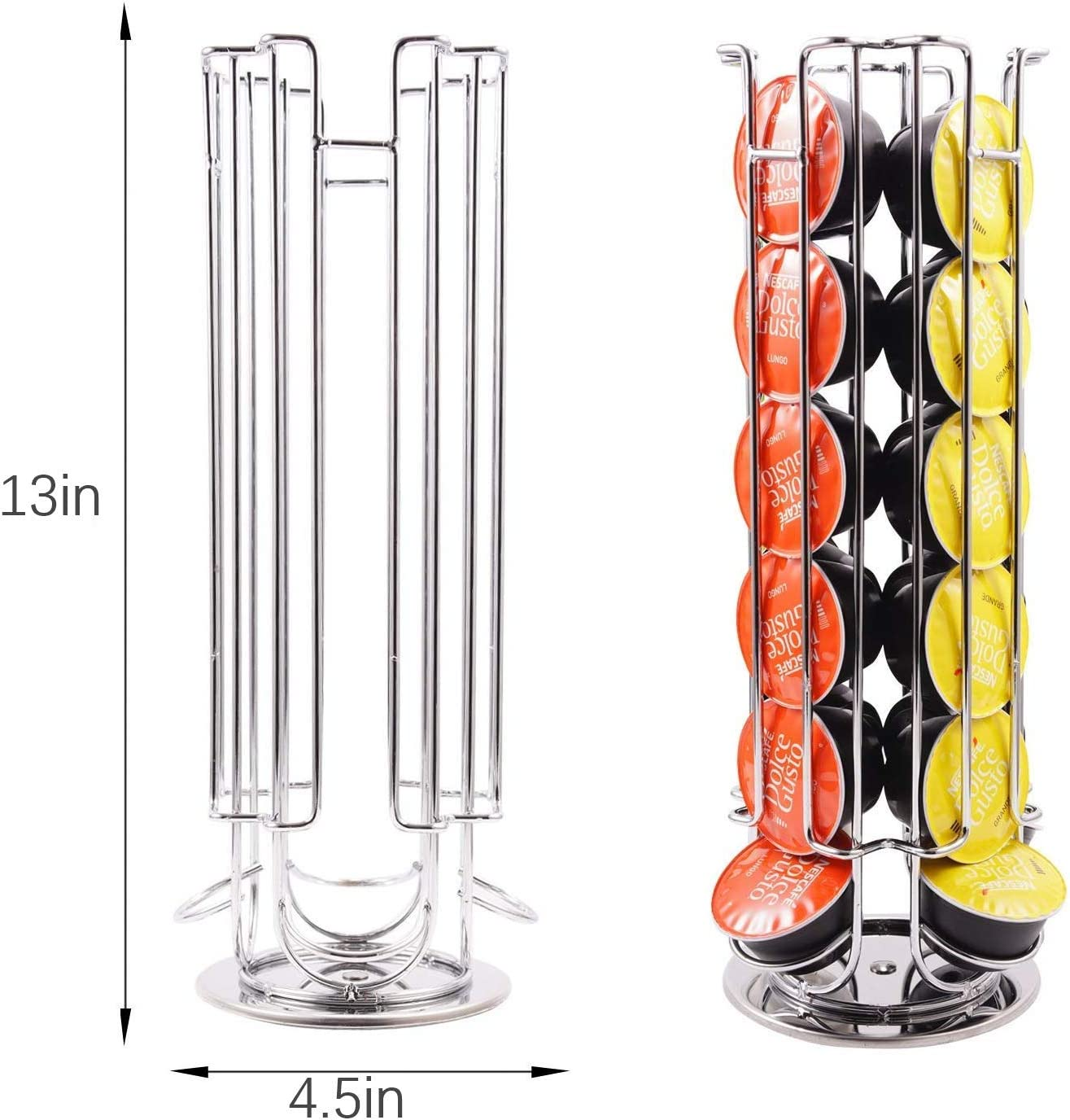 Coffee Capsule Rotating Dispenser Tower Stand 24 Pod Holder Rack for Dolce Gusto