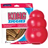 KONG - Classic and Ziggies - Dog Chew Toy with Dog Treats - for Medium Dogs