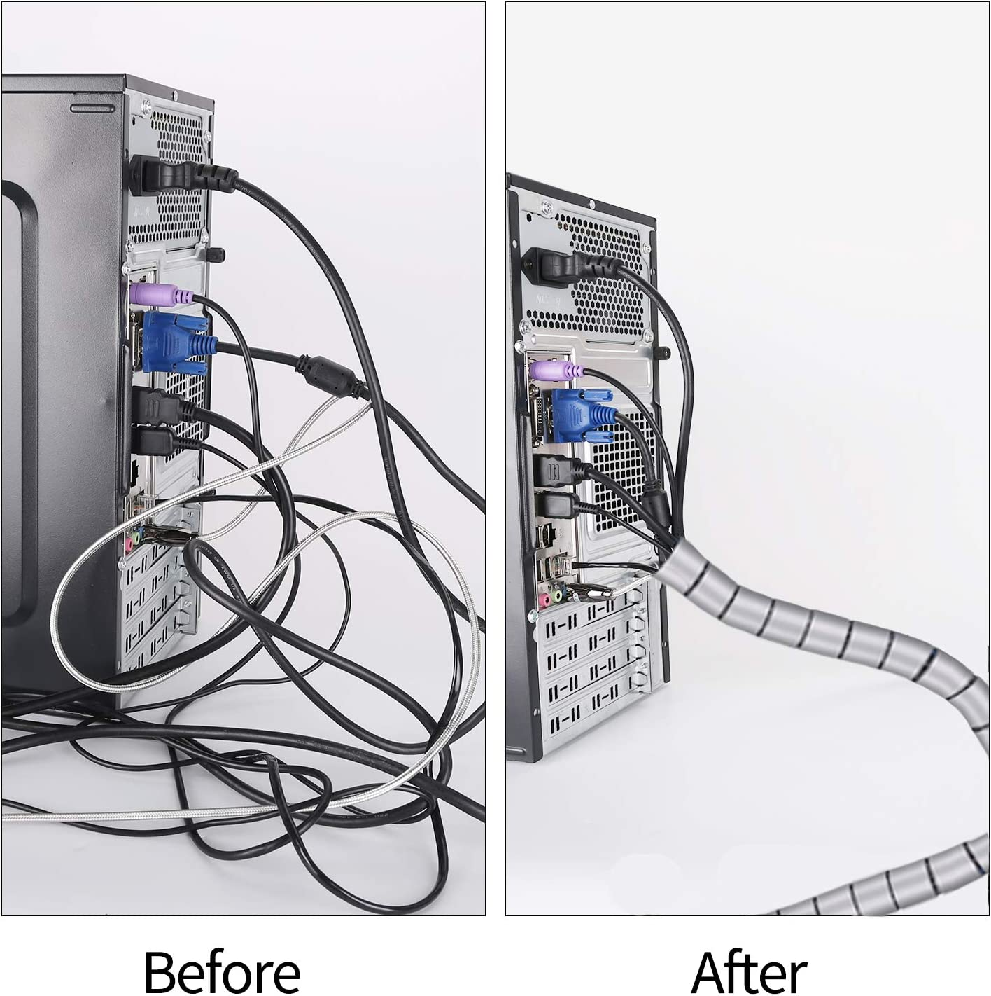 /Ø2.2cm y /Ø1.6cm Recoge Cables para Office y PC Escritorio-Negro y Gris Organizador de Cables Mesa MOSOTECH Organizador Cables Cubre Cables de 2 x 1.5m Flexible Funda Organizador Cables
