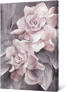 "lamplig Pink Grey Wall Art Rose Flower Floral Pictures Flowers Canvas Painting Blush Gray Dusty Pink Roses Print Modern Artwork Framed for Living Room Bedroom Bathroom Home Room Wall Decor 16""x24"""
