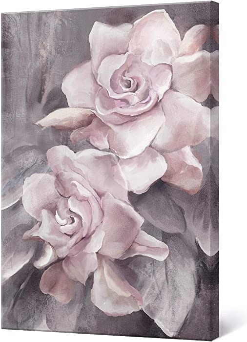 """lamplig Pink Grey Wall Art Rose Flower Floral Pictures Flowers Canvas Painting Blush Gray Dusty Pink Roses Print Modern Artwork Framed for Living Room Bedroom Bathroom Home Room Wall Decor 16""""x24"""""""