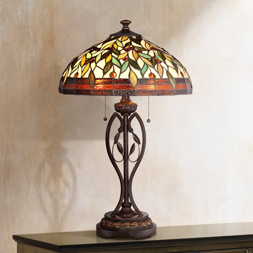 Blossoming leaf and vine bronze tiffany table lamp amazon aloadofball Images