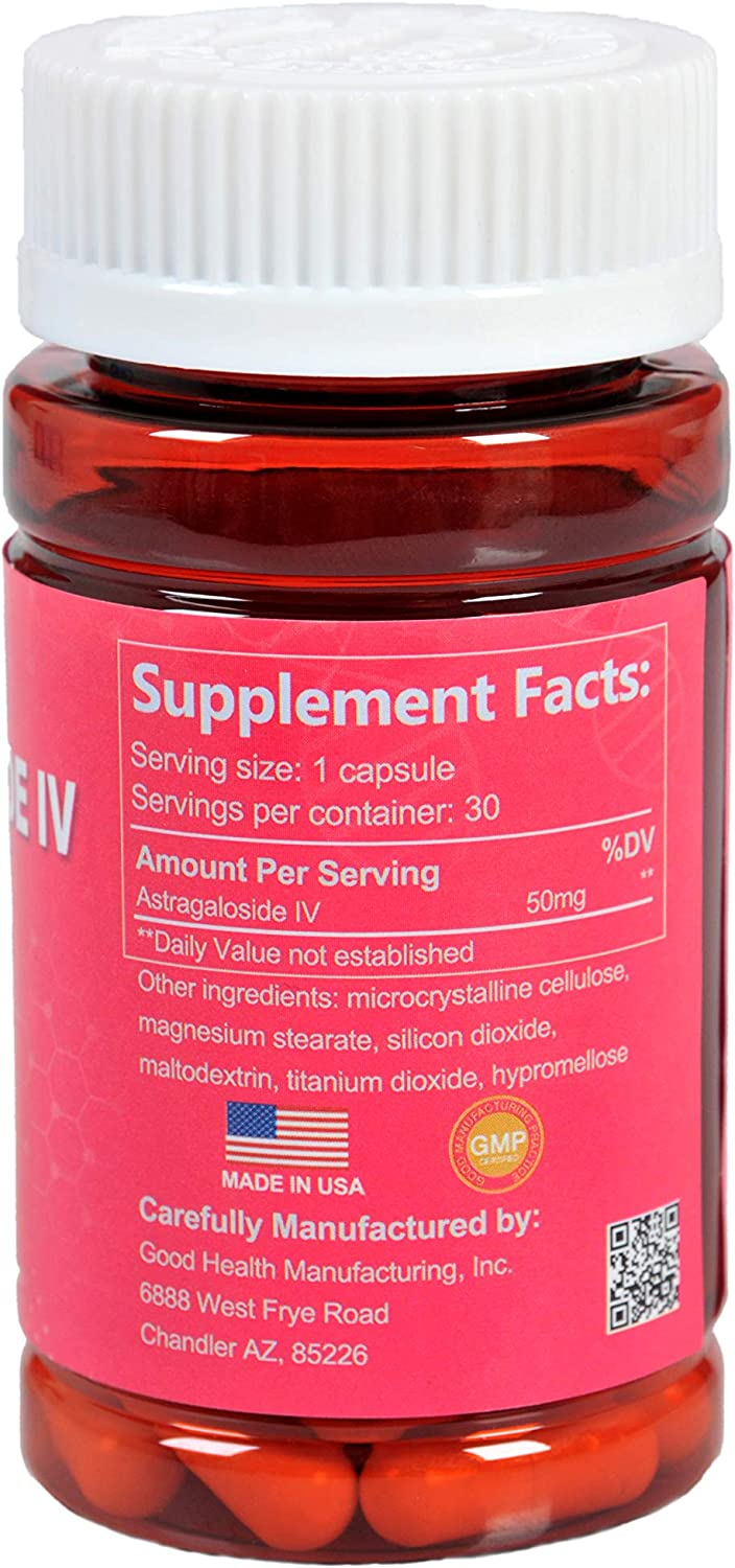 CAW Anti-Aging Supplement | Immune System Support | Astragalus Root Extract: Astragaloside IV 98% 50mg (30Capsules)