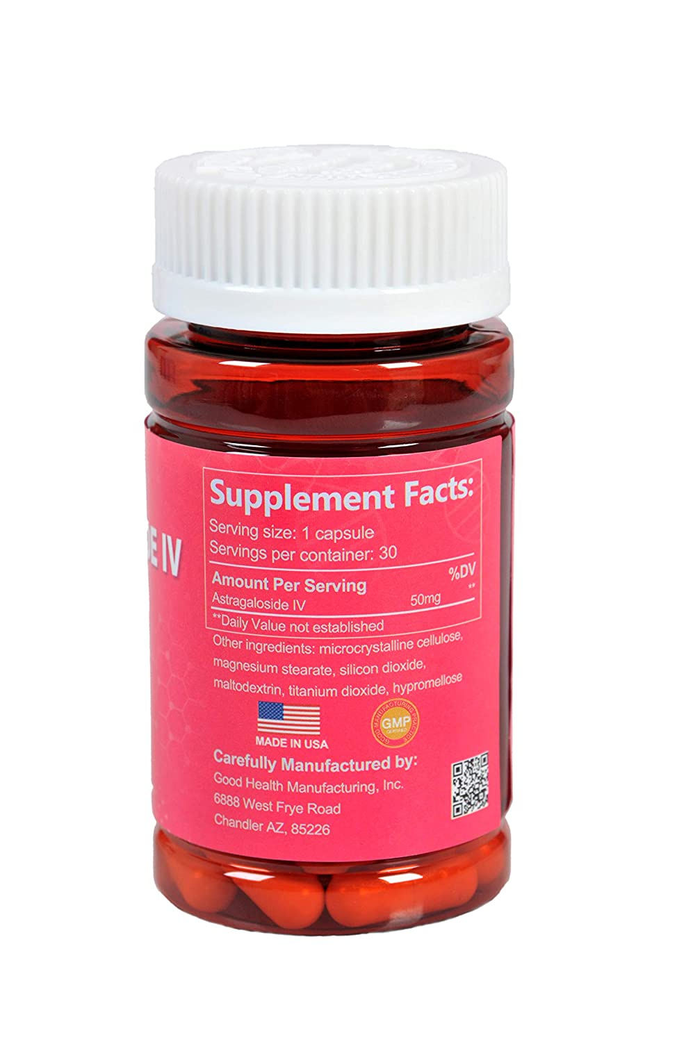 CAW Anti-aging Supplement Immune System Support Astragalus root extract Astragaloside IV 98 50mg 30Capsules 3bottles
