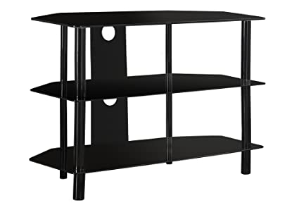 Monarch Specialties Black Metal TV Stand With Tempered Black Glass, 36 Inch