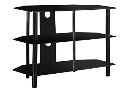 Monarch Specialties Black Metal TV Stand with Tempered Black Glass, 36-Inch