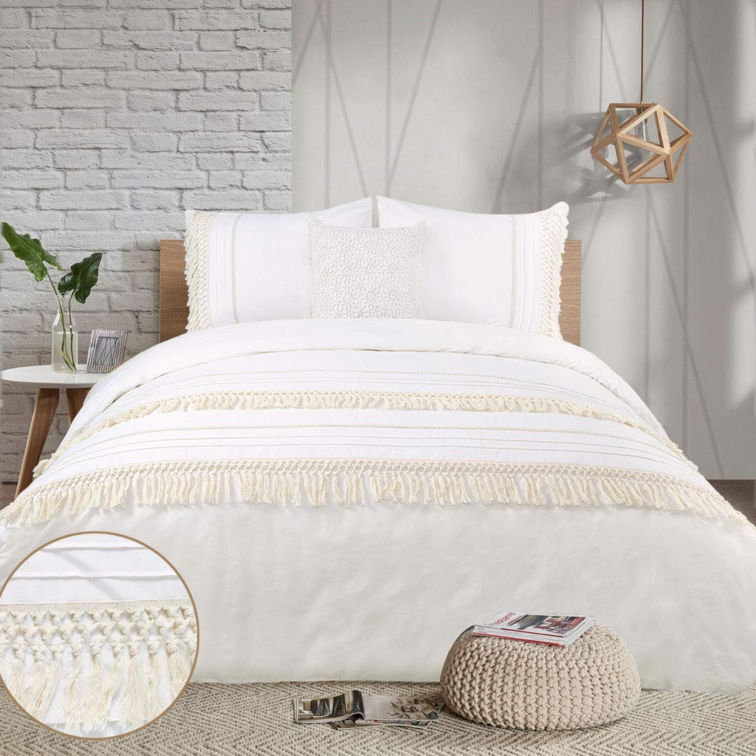 YINFUNG Boho Duvet Cover Queen Ivory Tassel Cream Macrame Crochet Boho Chic Tufted 90 x 90 Quilt Cover Fringe Beige Off White 3PC Bedding Set Lace Trim Cute Pretty Country Romantic Cotton 100%