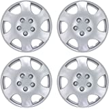 "BDK Toyota Corolla Hubcaps Wheel Cover, 15"" Silver Replica Cover, OEM Factory Replacement (4 Pieces)"