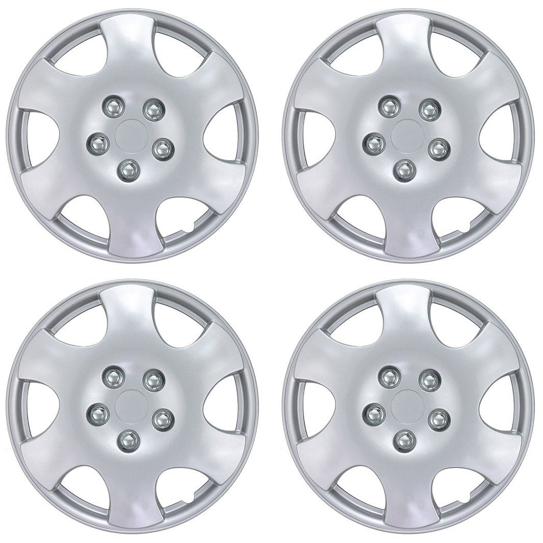 BDK Toyota Corolla Style Hubcaps Wheel Cover, 15' Silver Replica Cover, Silver Replacement, ABS Plastic (4 Pieces) 15 Silver Replica Cover KT-1015-15_AMZKING