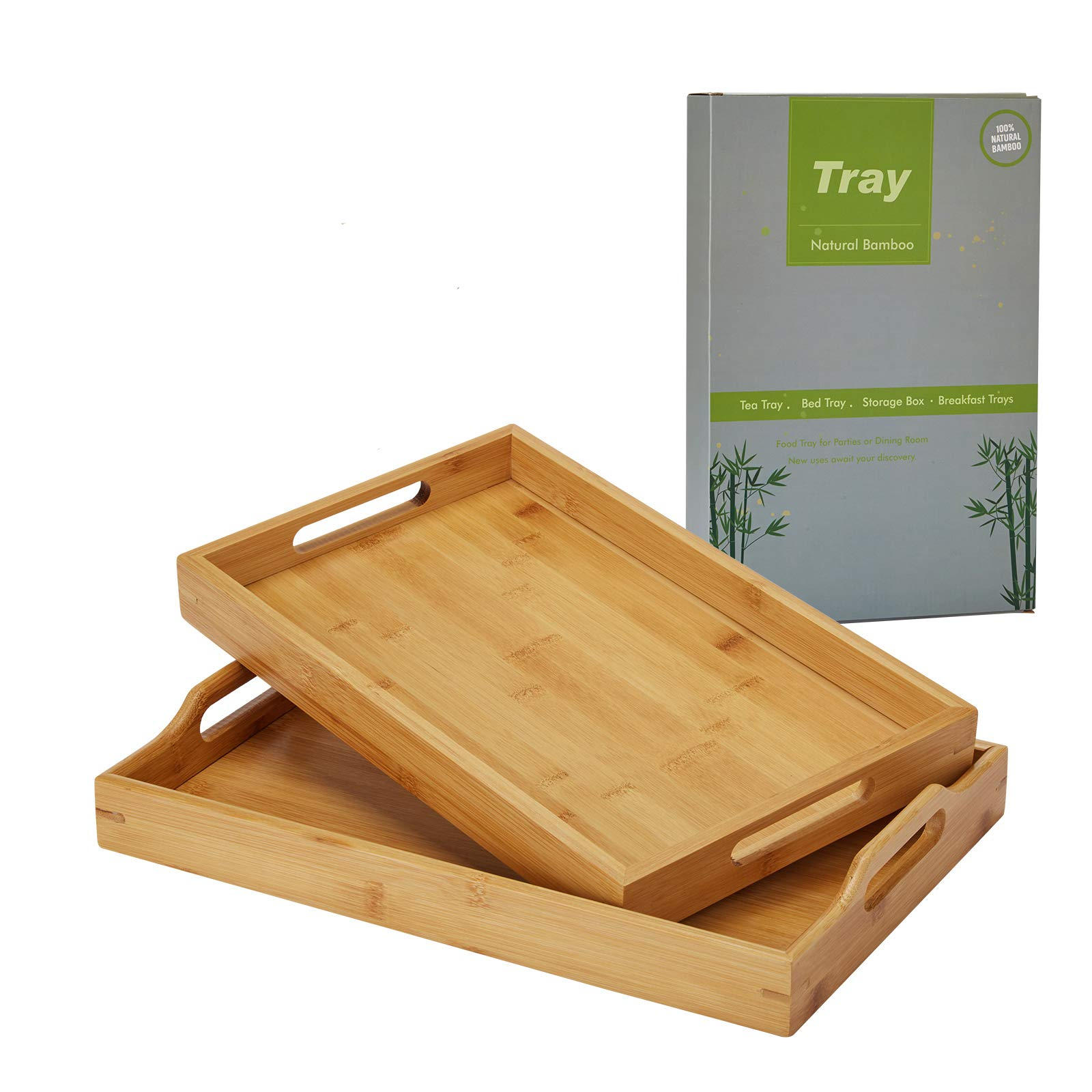 Rectangle Bamboo Butler Serving Tray with Handle Serving Tray Bamboo Tray with