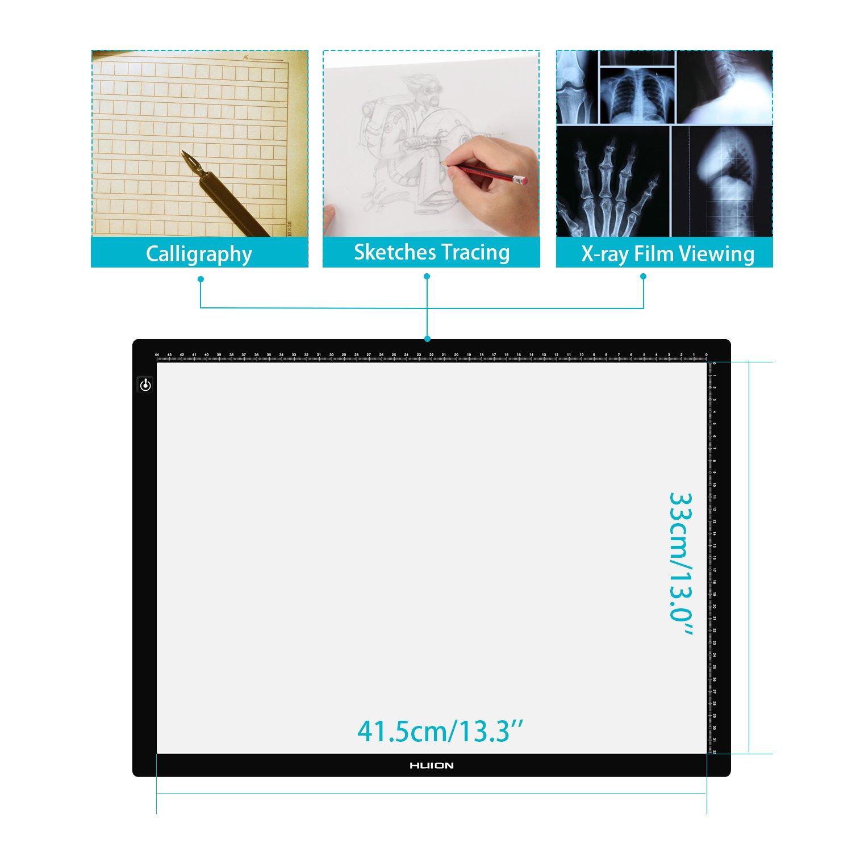 Disegno Artisti HUION LA3 Light Box Pannello Luminoso da Disegno a LED con Tracciato del Tatuaggio Perfetto per Animazione