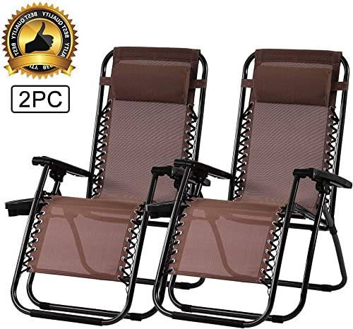 Zero Gravity Chair Outdoor Folding Lounge Chair Recliners Adjustable Lawn Lounge Chair with Pillow, Awning and Cup Holder Tray for Camping, Patio and Poolside 2PC Brown