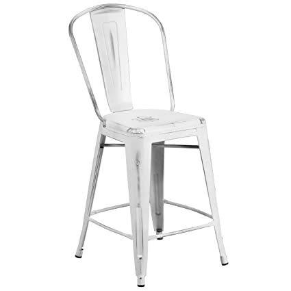 Amazon.com  Flash Furniture 24   High Distressed White Metal Indoor-Outdoor Counter  Height Stool with Back  Kitchen   Dining e6ab53642c
