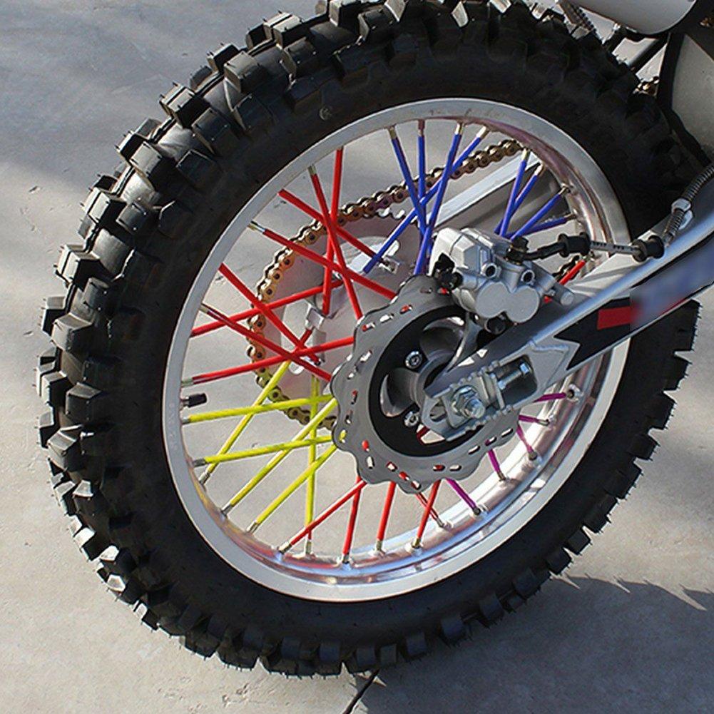 szlsl88 Spoke Skins Motorcycle Dirt Bike Rueda Enduro Ajuste Universal para la mayor/ía Las Motocicletas Motocross en Motocicletas Carretera Negro