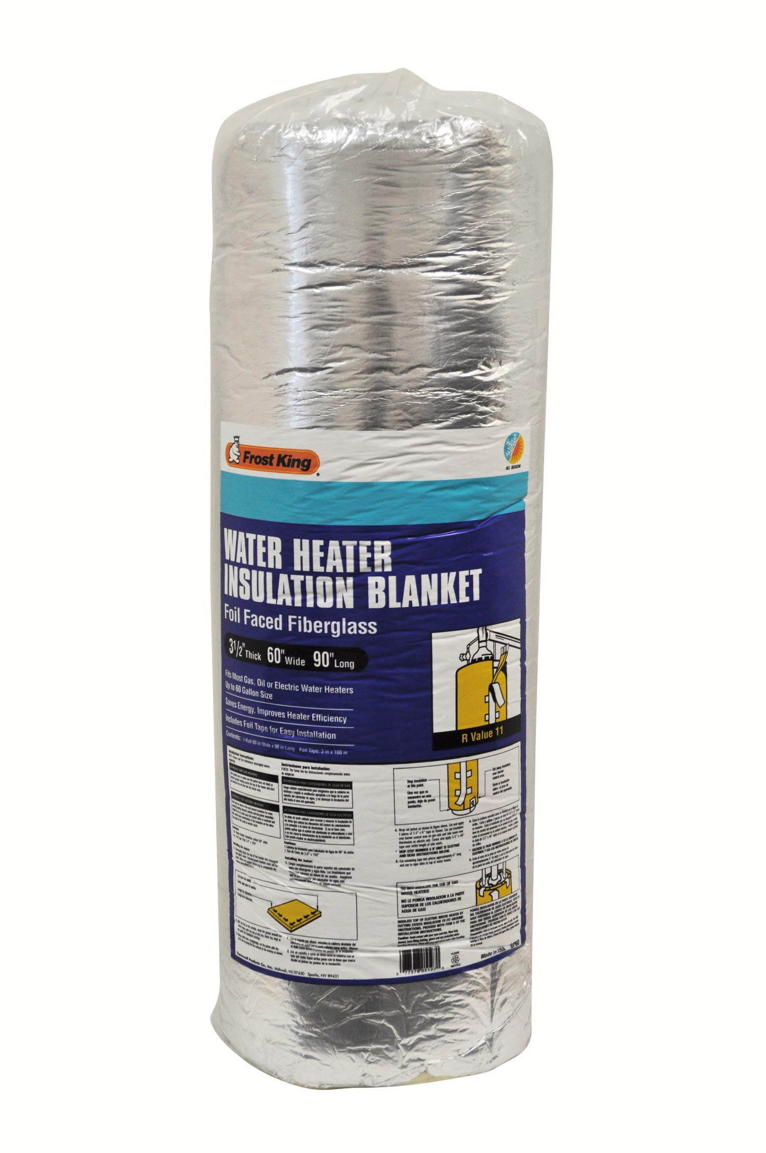 Frost King SP60 All Season Water Heater Insulation Blanket, 3'' Thick x 60'' x 90'', R10 by Frost King