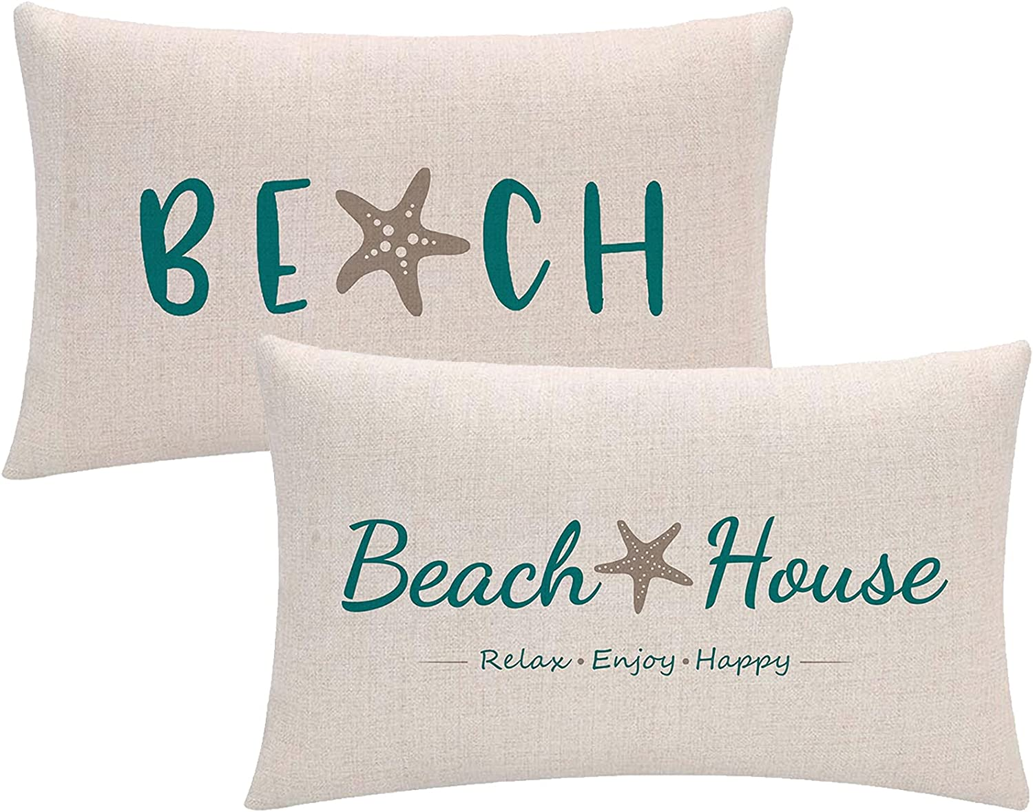 ULOVE LOVE YOURSELF Beach House Decor Throw Pillow Cover with Starfish Cushion Covers Summer Holiday Beach Decorative Lumber Pillowcases 12x20 inch,Set of 2