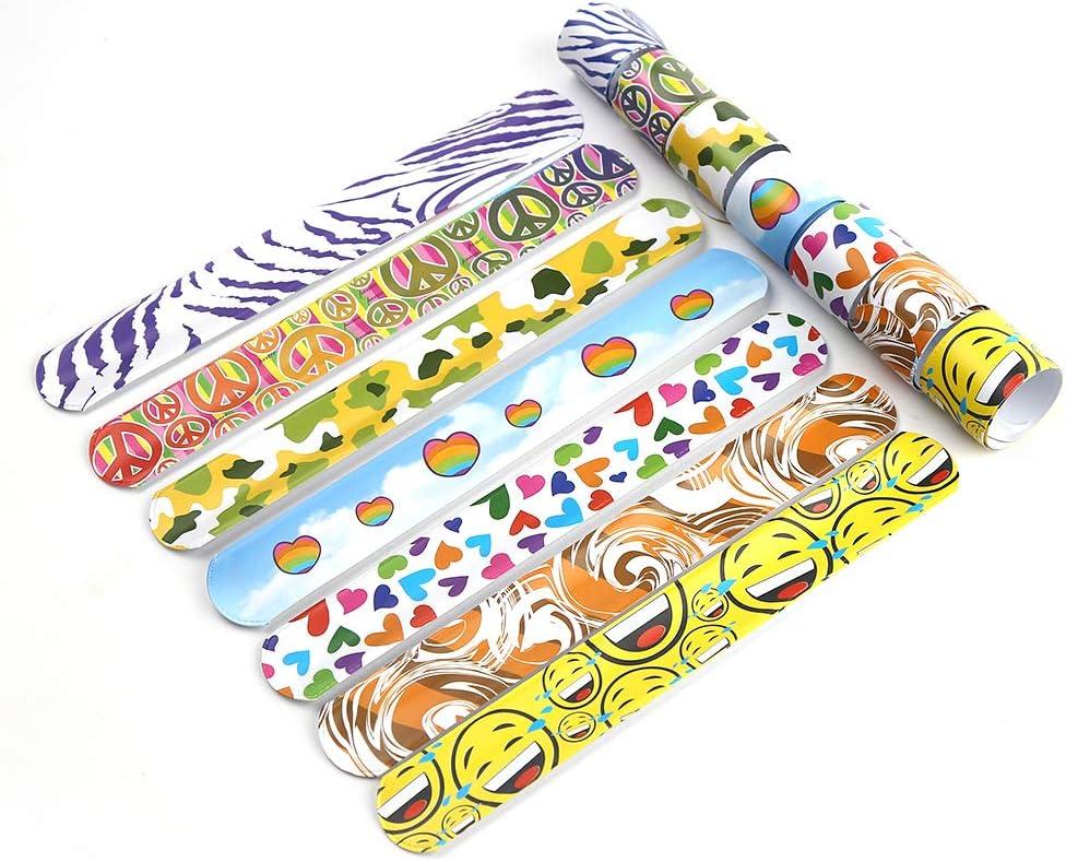 100 PCS Slap Bracelets Bulk With Assorted Designs Unicorn Leopard Emoji Heart Party Favors Slap Bands for Kids Party Favors Birthday Classroom Gifts