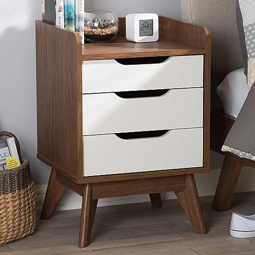 Baxton Studio Brighton Mid-Century Wood 3-Drawer Storage Nightstand Mid-Century/White/Walnut Brown/Particle Board/MDF