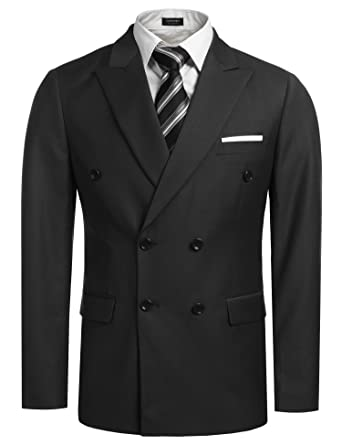 Coofandy Men's Casual Double-breasted Blazer Jacket Button Solid ...